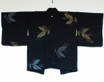 Black Haori Kimono Cardigan With Glittery Leaf Design Textile Art 二