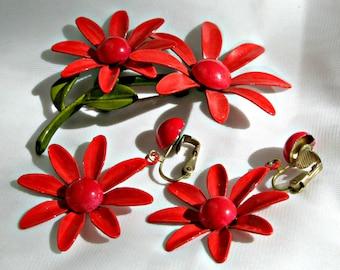 Flower Brooch Clip Earrings Red Set Vintage 50s Costume Jewelry