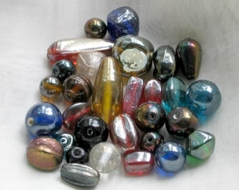 Glass Bead Lot 30 pc Vintage 80s Beads Jewelry Craft Supplies