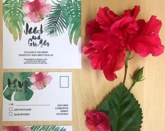 Printable Wedding Invitation - Tropical Leaves Wedding Invitation Suite (3 Pieces)