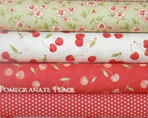 Farmhouse by Fig Tree & Co .. Red, cream and green colorway ... Moda fkabrics.. 4 Fat Quarters.. tomato, milk and meadow