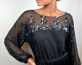 Beaded Vintage Black Sequin Jack Bryan Formal Cocktail Dress