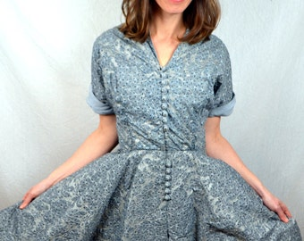 Vintage 1950s Unusual RARE Gray Quilted Metallic Party Cocktail Dress
