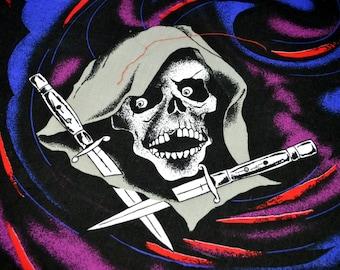 Vintage 80s Evil Skull Hankerchief Scarf Bandana - #B11