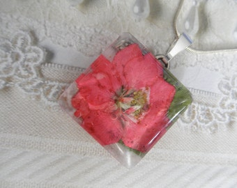 Pink Larkspur Pressed Flower Square Glass Pendant-July Birth Flower-Nature's Wearable Art-Symbolizes An Open Heart-Gifts Under 30