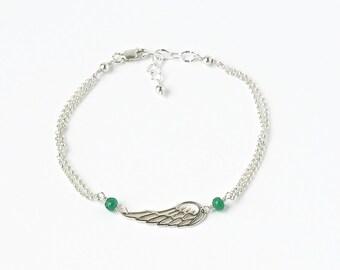 Miscarriage Bracelet / Miscarriage Jewelry / Sterling Silver Bracelet / Angel Wing Bracelet / Custom Birthstone Bracelet / 7 Inch