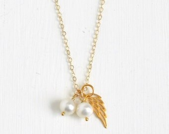 Loss of Twins Necklace / Twin Baby Loss Jewelry / Gender Neutral / Gold Angel Wing with Freshwater Pearls