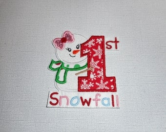 Free Shipping   Ready to Ship First Snow  Machine Embroidery  Iron on applique