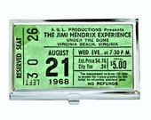 Vintage Jimi Hendrix Concert Ticket Business Card Case, Sublimation, Permanent Image, Silver Tone Finish, Black Velvet Lining, Customize
