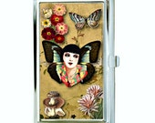 Fairy Woman and Flowers Collage Business Card Case, Sublimation, Permanent Image, Silver Tone Finish, Black Velvet Lining, Can be Customized