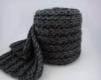 Soft Chunky Gray Scarf - knit wool scarf