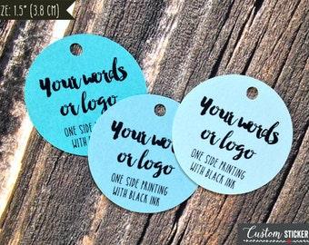 "50 custom tags circle 1.5"", personalized tags, logo tags, product tags, hang tag, bridal shower tags, gift tags, wedding favor tag (T-82)"