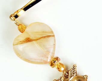 Golden Flying Pig with Heart Zipper Pull, Pigasus Purse Charm, Pig with Wings Backpack Charm, When Pigs Fly Zipper Charm