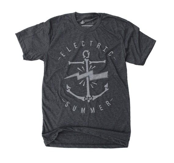 Mens Electric Summer T-Shirt -  retro surf graphic tee, summer beach shirt, anchor print, for him