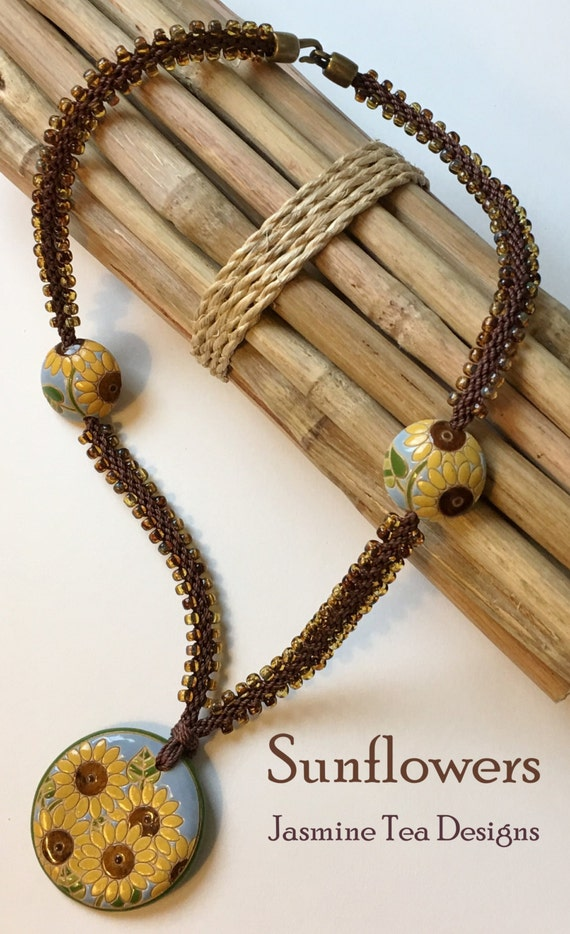 Beaded Kumihimo Sunflowers Necklace featuring Golem Studio Designs Artisan Beads