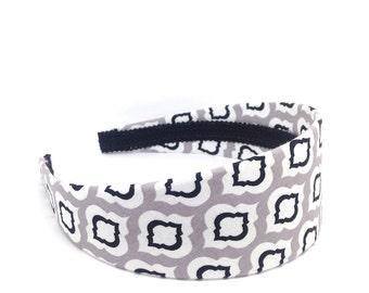 Gray, Black and White 2 inch Wide Headband - Moroccan Trellis Print Headband - Girls Headbands, Adult Headbands - Quatrefoil Black and White