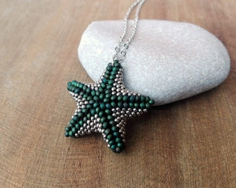 Silver and Emerald Green Beaded Starfish Necklace, Modern Beaded Jewelry, Star Pendant, Starfish Necklace