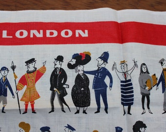 Tea Towel People of London Bold Unused  Wall Hanging Irish Linen Ulster Rare VINTAGE by Plantdreaming