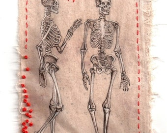 "Print from original Ink Drawing on teabag, ink drawing, Kabbalah, anatomical skeleton, teabag art, ""Vanities"" mixed media"