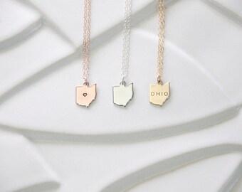 State Charm Ohio Necklace, Miniature State Charms, Small Ohio Necklace, State Necklace, Gold Ohio, Silver Ohio Charm, Ohio Bracelet, tiny