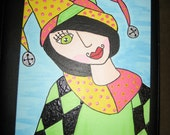 original acrylic painting harlequin, Jester, Clown, folk Pop Art kids room, carnival art,  Mardi Gras, female court Jester