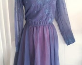 Pretty Vintage Jack Bryan Beaded and Chiffon Dress -- Size M-L