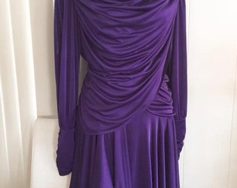 Drop Dead Glamorous Vintage 70's does 40's Hollywood Glamor Draped Gown -- Size M-L