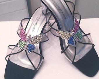 Sale Vintage Cinderella Lucite Heel Shoes with Rhinestone Butterflies, Size 8 US, UK 6