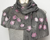 Mother Day Present  Elegant Present Hand Painted Silk  Cotton Long Scarf with Sakura Cherry Blossoms Flowers Pink Grey