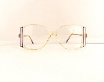 80's Eyeglasses Frames Women's 1970's/1980's Translucent Clear with Blue Frames Deadstock NOS #M352 DIVINE