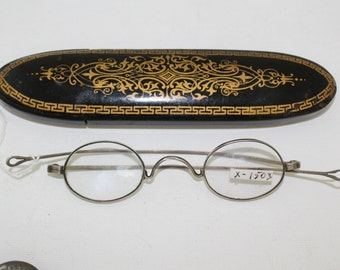 Rare Victorian Coin Silver Eyeglasses with Case // 1800s Antique Glasses Frames