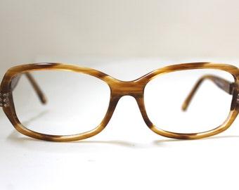 90s Saks Fifth Avenue Eyeglasses Women's Vintage 1990's Designer Tortoiseshell with Rhinestones Frames