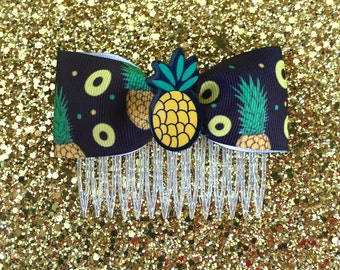 Pineapple Tropical Explosive Delight Hair Comb - Black - Retro - 50s - Pinup - Kitsch