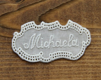 Vintage embroidered lace tag name MICHAELA personalize alphabet letter initial tag label mark laundry washing personalise by Yebisu