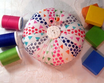 Pincushion, Geometrics Round Patchwork  -Made to Order