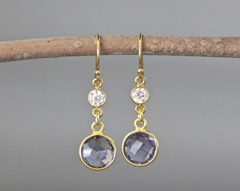 Iolite Earrings - Iolite Quartz - Iolite and Gold - Cubic Zirconia Earrings - Gold Bezels - Gold Vermeil Earrings - Gold Dangle Earrings