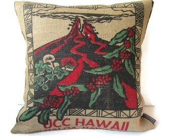 MTO. Custom. Kilauea Volcano Burlap Pillow Cover. Repurposed UCC Hawaii Kona Coffee Bag. Handmade in Hawaii.