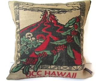 MTO. Custom. Kilauea Volcano Burlap Pillow Cover. Repurposed UCC Hawaii Kona Coffee Bag. Handmade in Hawaii.