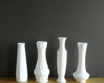 Milkglass Collection - Milkglass Vases - Milk Glass Set of Four