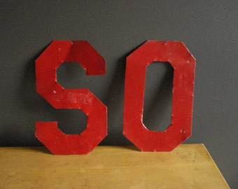This Listing Brought to You by the Letter S - Vintage Red Letter S - Metal Letter S Monogram