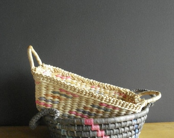 Vintage Basket Duo - Two Low, Flat Baskets or Woven Trays - Set of 2 Baskets