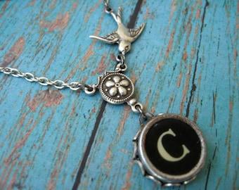 Typewriter Jewelry - Antique Typewriter Key  Necklace - Letter C with Bird