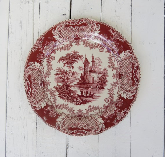 Red And White Plate Red Transferware Plate French Country