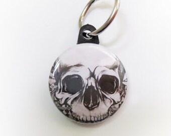 Skull Art Keychain, Handmade Original Gothic Dark Design Button