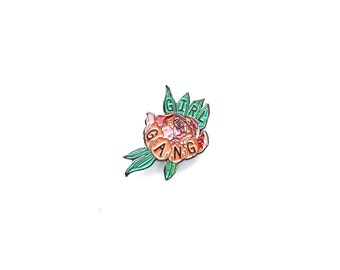 Girl Gang Peony Enamel Pin -  Flower Enamel Pin - Girl Gang Pin - Gold and Green Leaf Illustration Pin