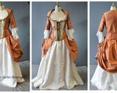 claire's wedding gown-outlander-carnival-masquerade-gown-18th century corset-rococo-colonial-outlander-secret boutique-plus size-alternative