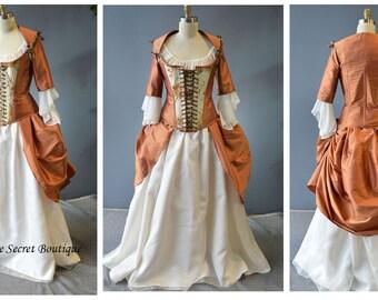 claire's wedding gown-outlander-carnival-masquerade-gown-18th century corset-rococo-colonial-outlander-secret boutique-plus size-alternative