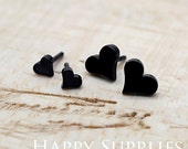 Nickel Free - High Quality Heart Dual-used Black Earring Post Finding with Ear Stud Stopper (SS003)