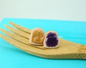 Sandwich Earrings PB and J Earrings, Grape Jelly // Clip On or Post Earrings // MADE to Order