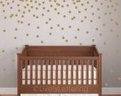 "Mini 2"" Polka Dot decal set, Circle wall decals, Geometric pattern, Gold dot decals, Confetti decal pack, Nursery decor, wall art W01806"